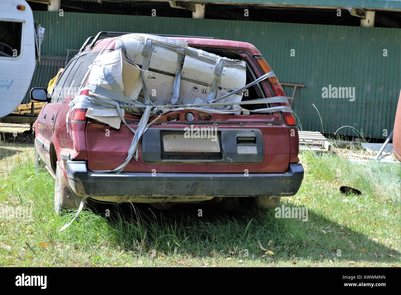 Car junkyard. Wrecked car junk yard in Australia Stock Photo