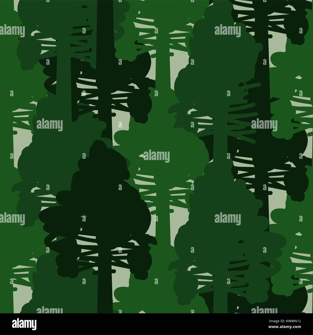 Camo forest green seamless vector pattern. - Stock Image