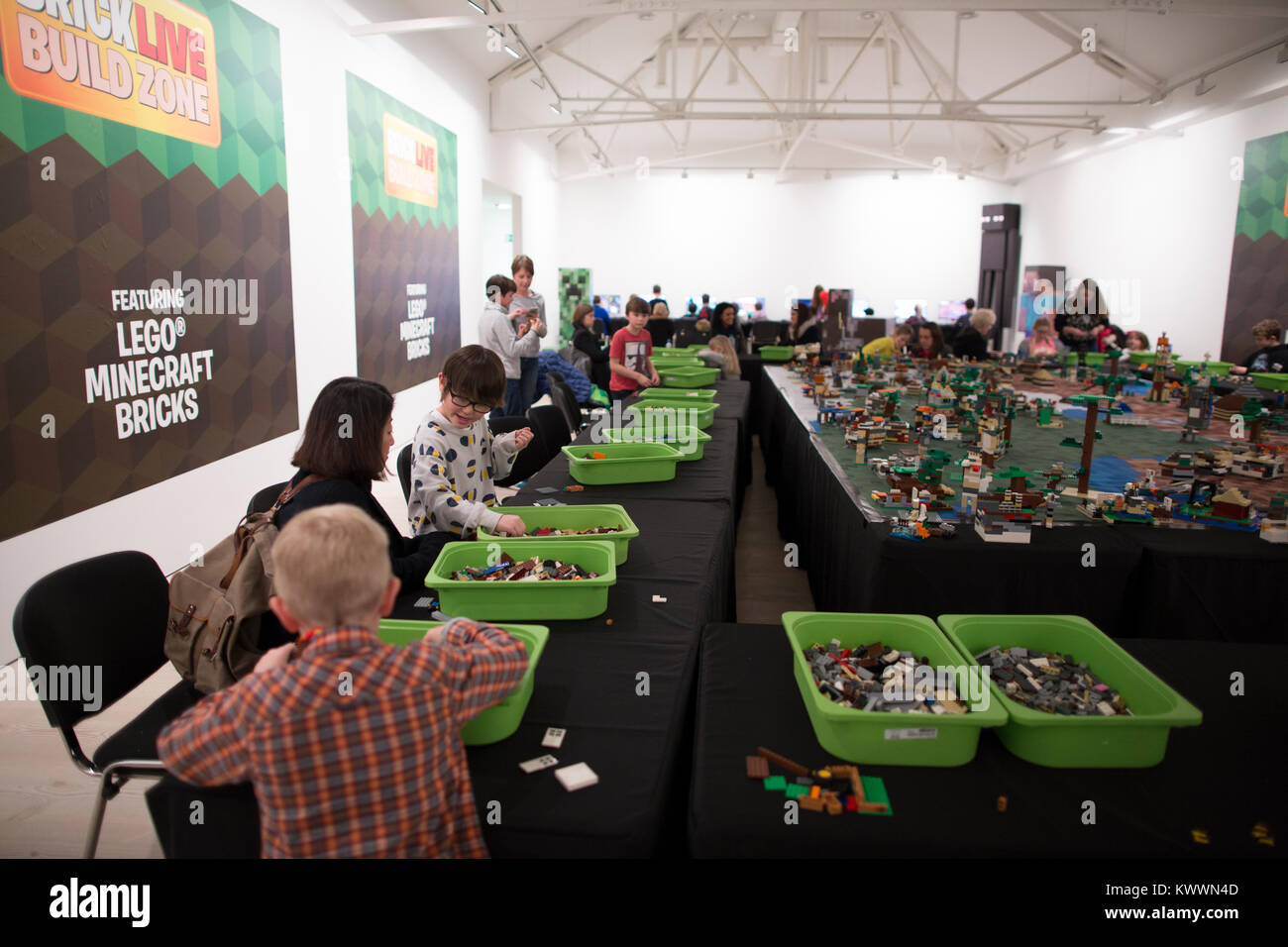 BRICKLIVE event, UK's largest event celebrating LEGO, sculptures, dive into brick pits and play areas with three - Stock Image