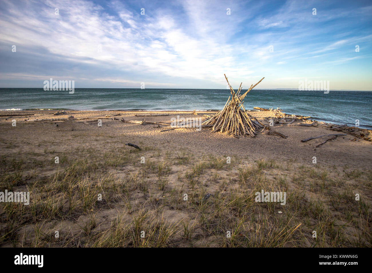 Lake Superior Beach Background Wild And Scenic Shore Of With Rustic Hut Whitefish Point Upper Peninsula Michigan USA