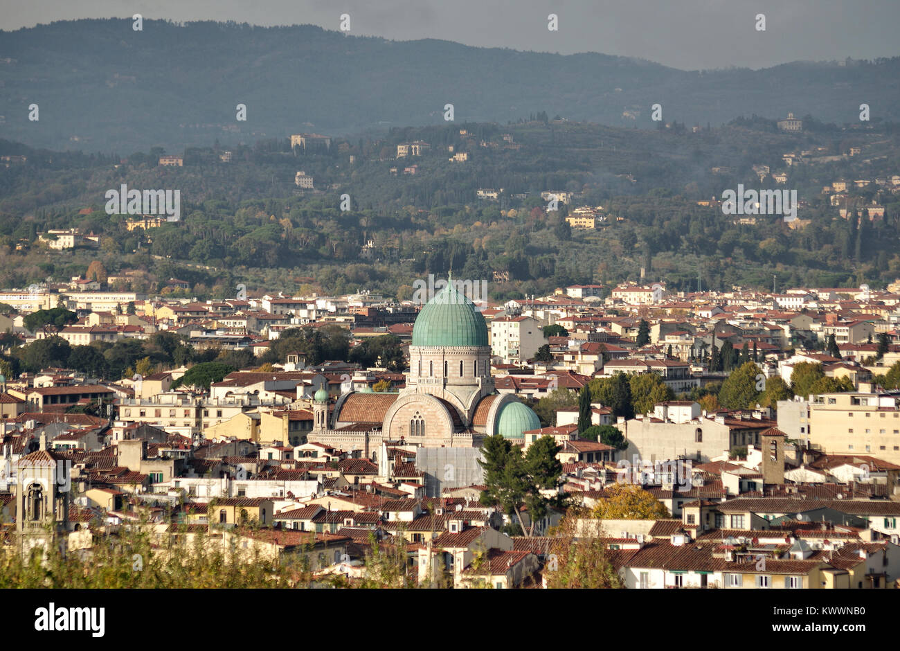overview of the Great Synagogue of Florence, Italy Stock Photo