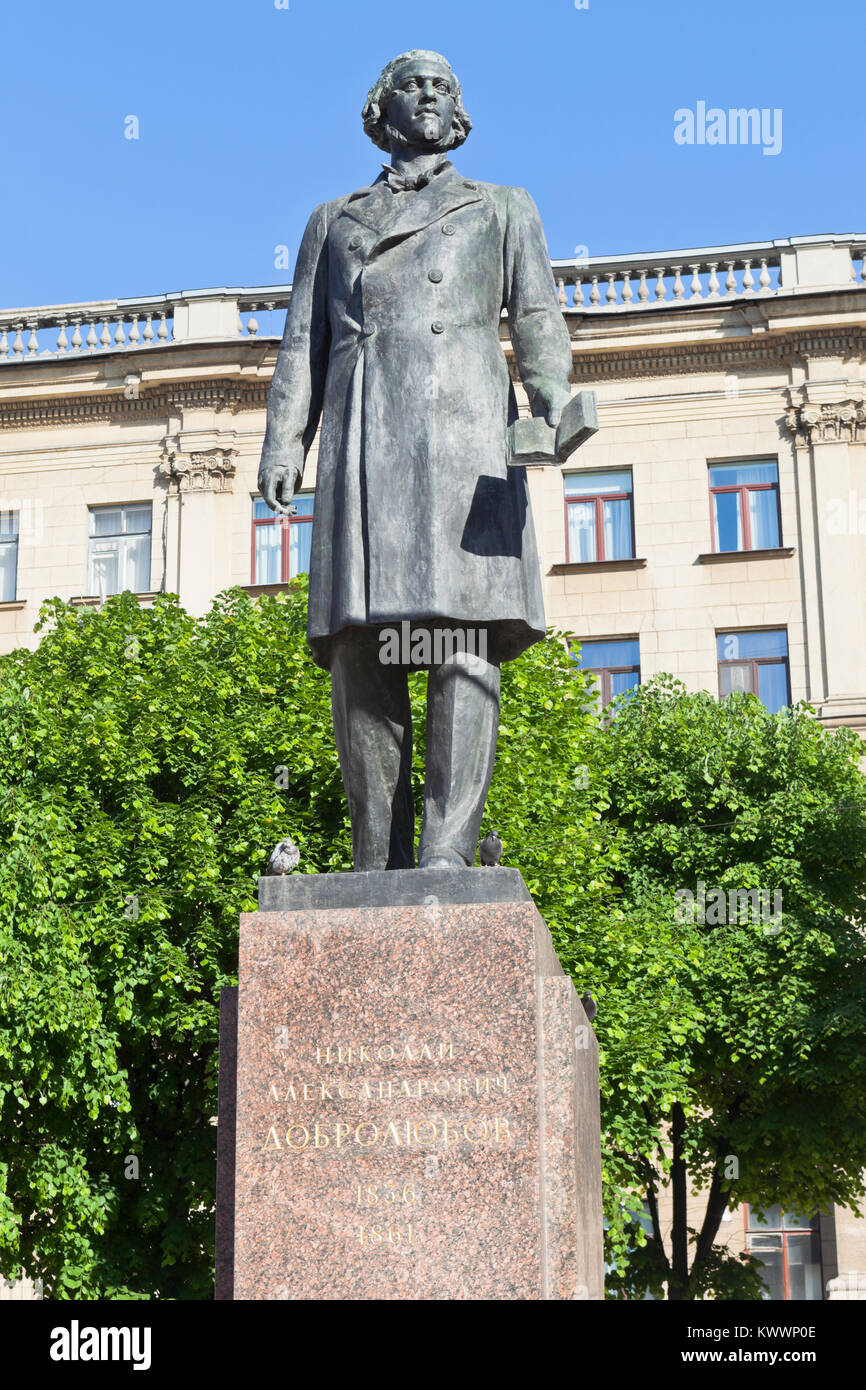 St. Petersburg, Russia - June 17, 2017: Monument to Nikolai Aleksandrovich Dobrolyubov in the city of St. Petersburg - Stock Image