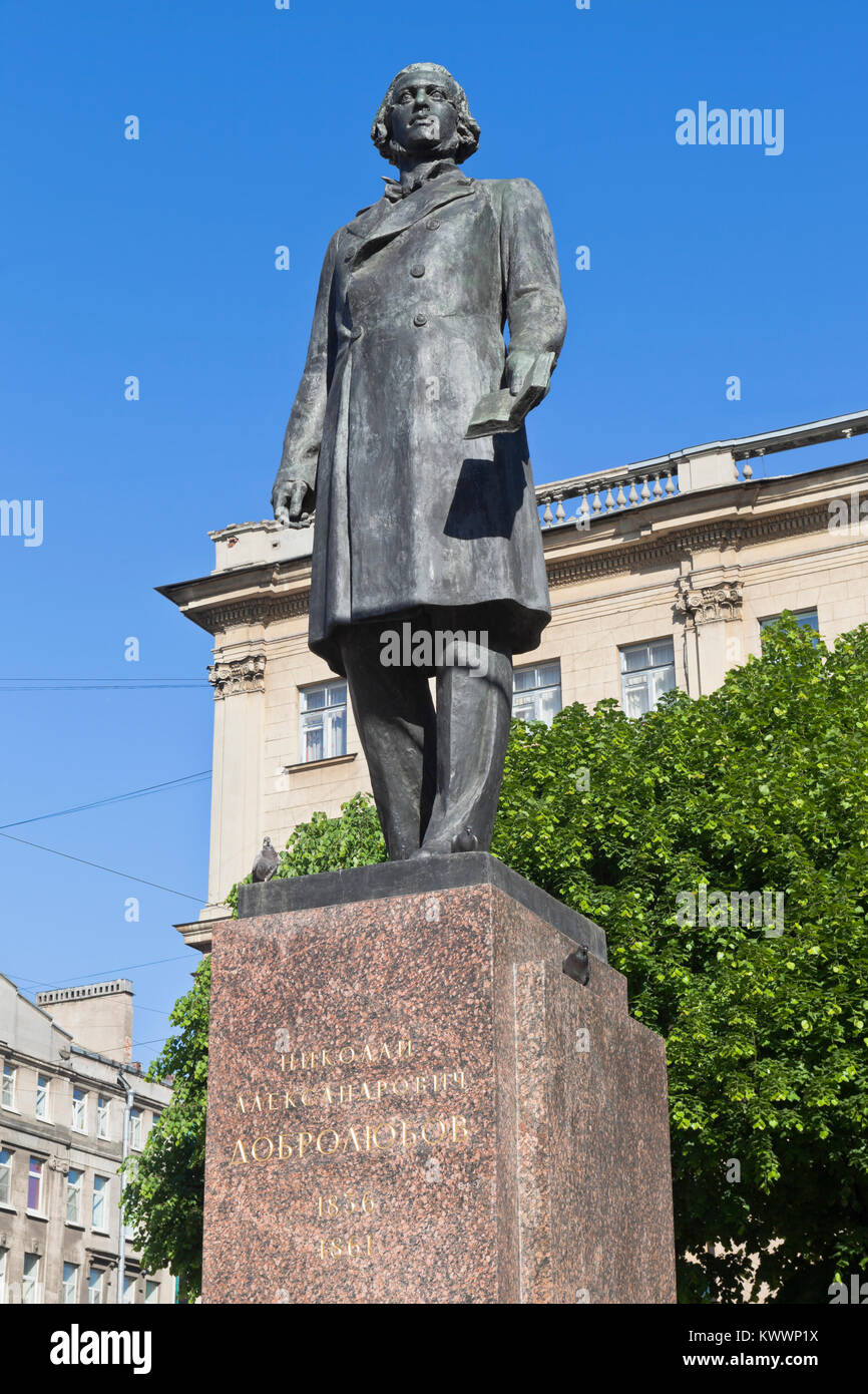 St. Petersburg, Russia - June 17, 2017: Monument to Nikolai Aleksandrovich Dobrolyubov on the Bolshoy Prospekt of - Stock Image