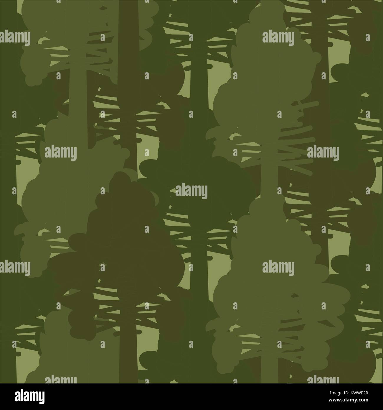 Camo forest olive woods seamless vector pattern. - Stock Image