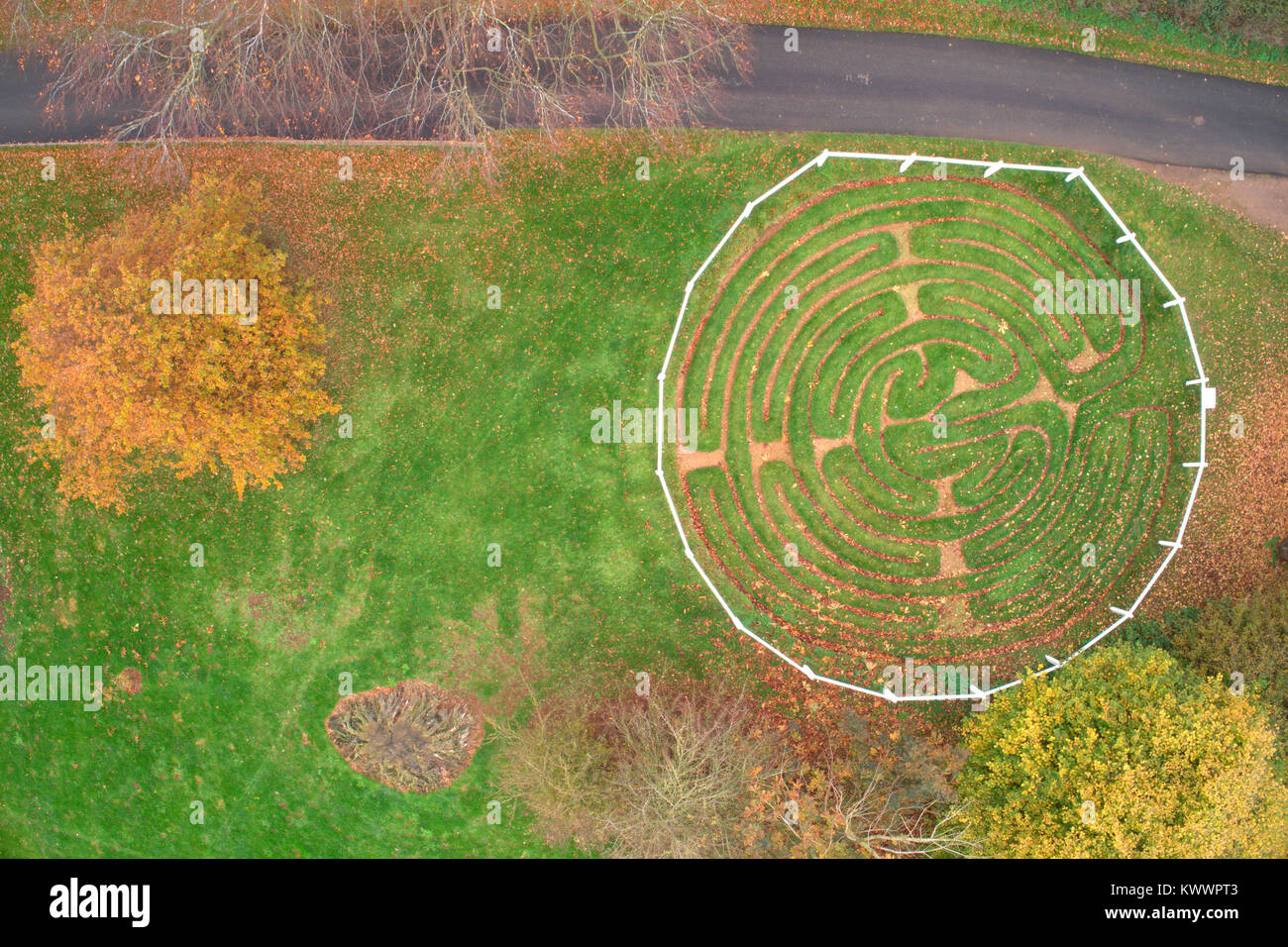 Drones view of the Turf Maze at Wing village, Rutland County, England, UK - Stock Image