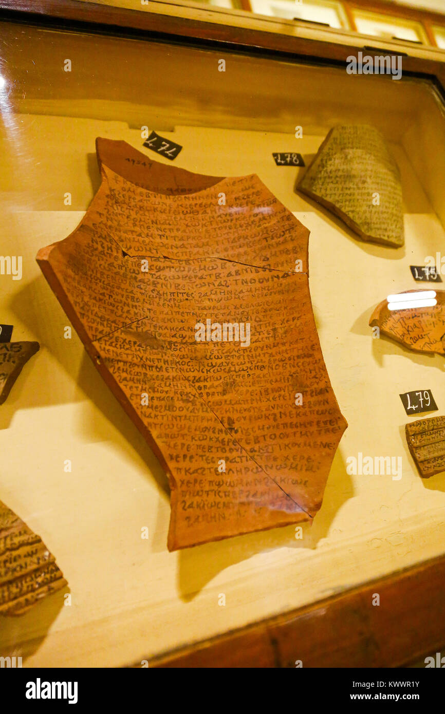 An ostracon (inscribed potsherd) written in the Greek language in the Egyptian Museum of Antiquities, Cairo, Egypt, - Stock Image