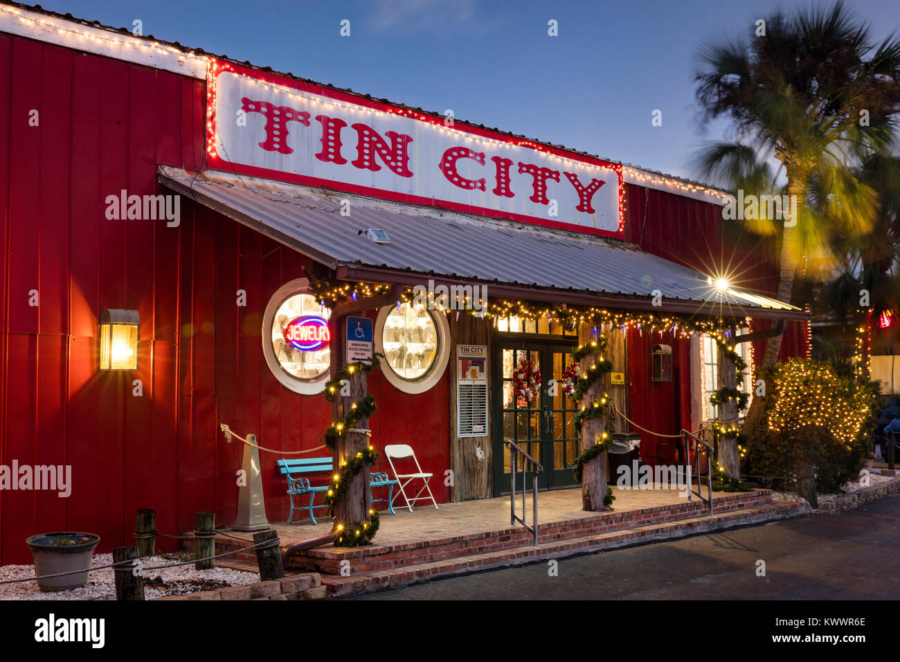 Mall entrance to the shops at Tin City - historic district, Naples, Florida, USA - Stock Image