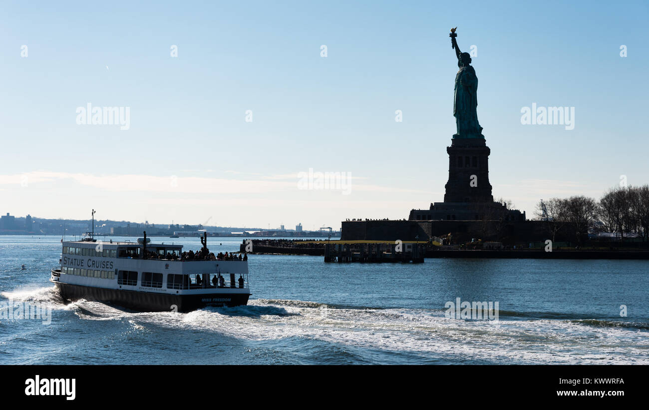 Statue Of Liberty And Ferry Boat Liberty Island New York
