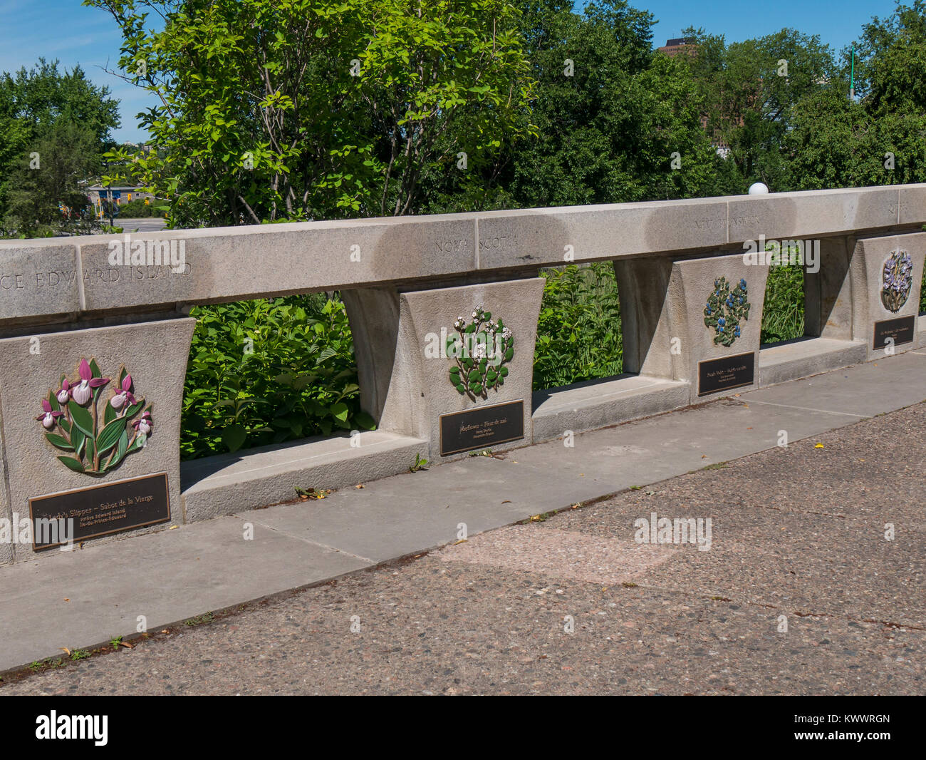 Plaques of flowers representing provinces and territories, Garden of the Provinces and Territories, Ottawa, Ontario, - Stock Image