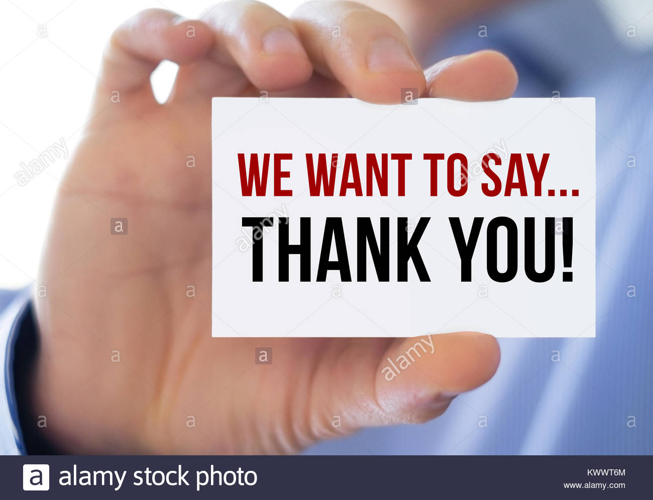 we want to say - thank you - Stock Image