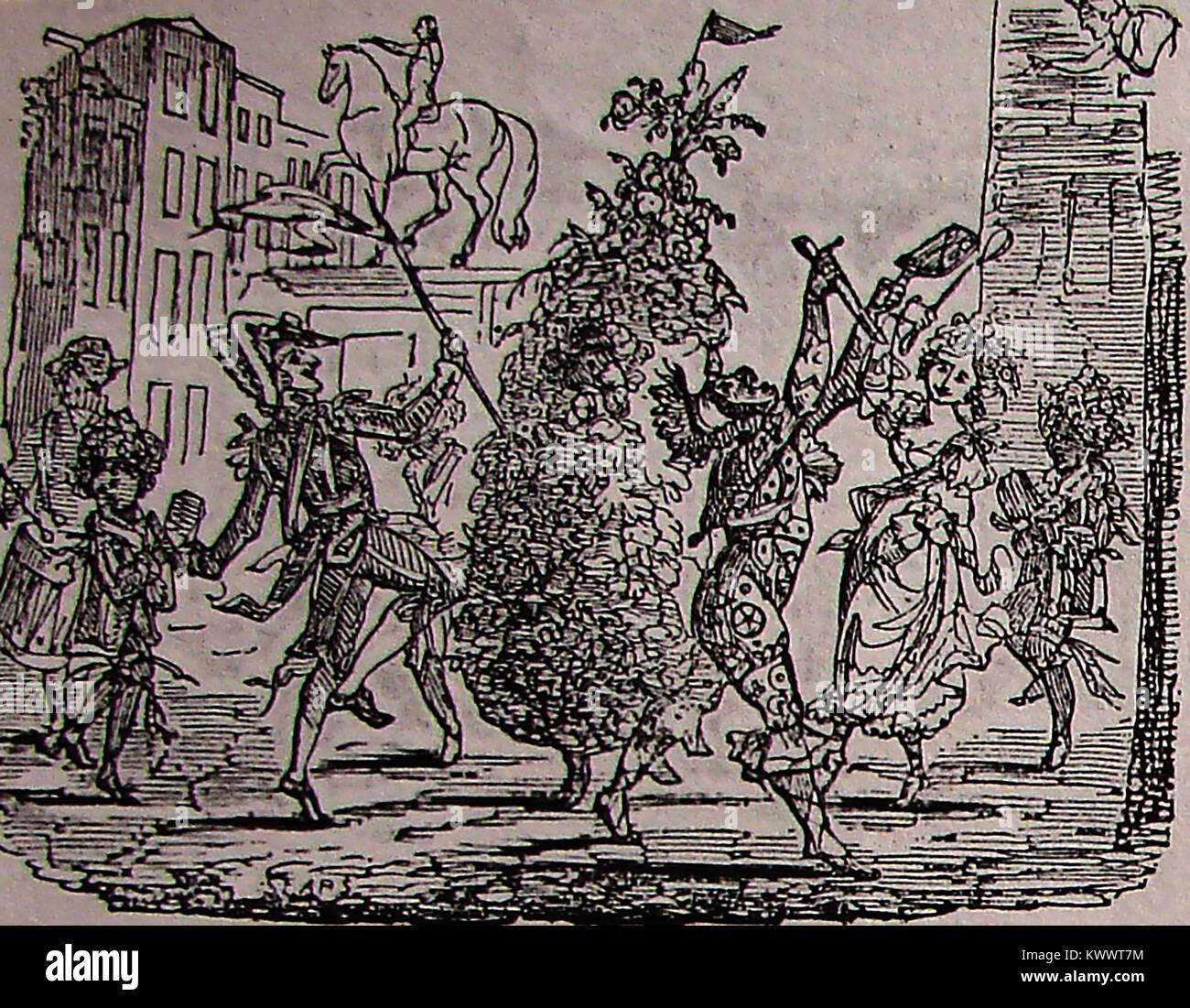 May Day Celebrations - A chimney sweeps parade circa 1790's Stock Photo
