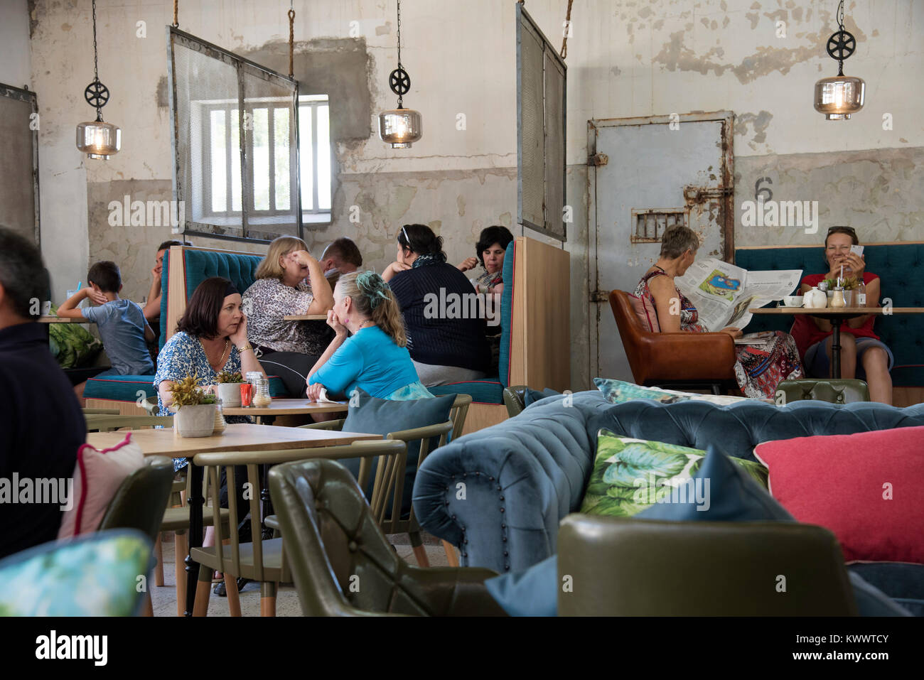 Paarl, Western Cape, South Africa. December 2017. Interior of a restaurant situated in the old jailhouse. - Stock Image