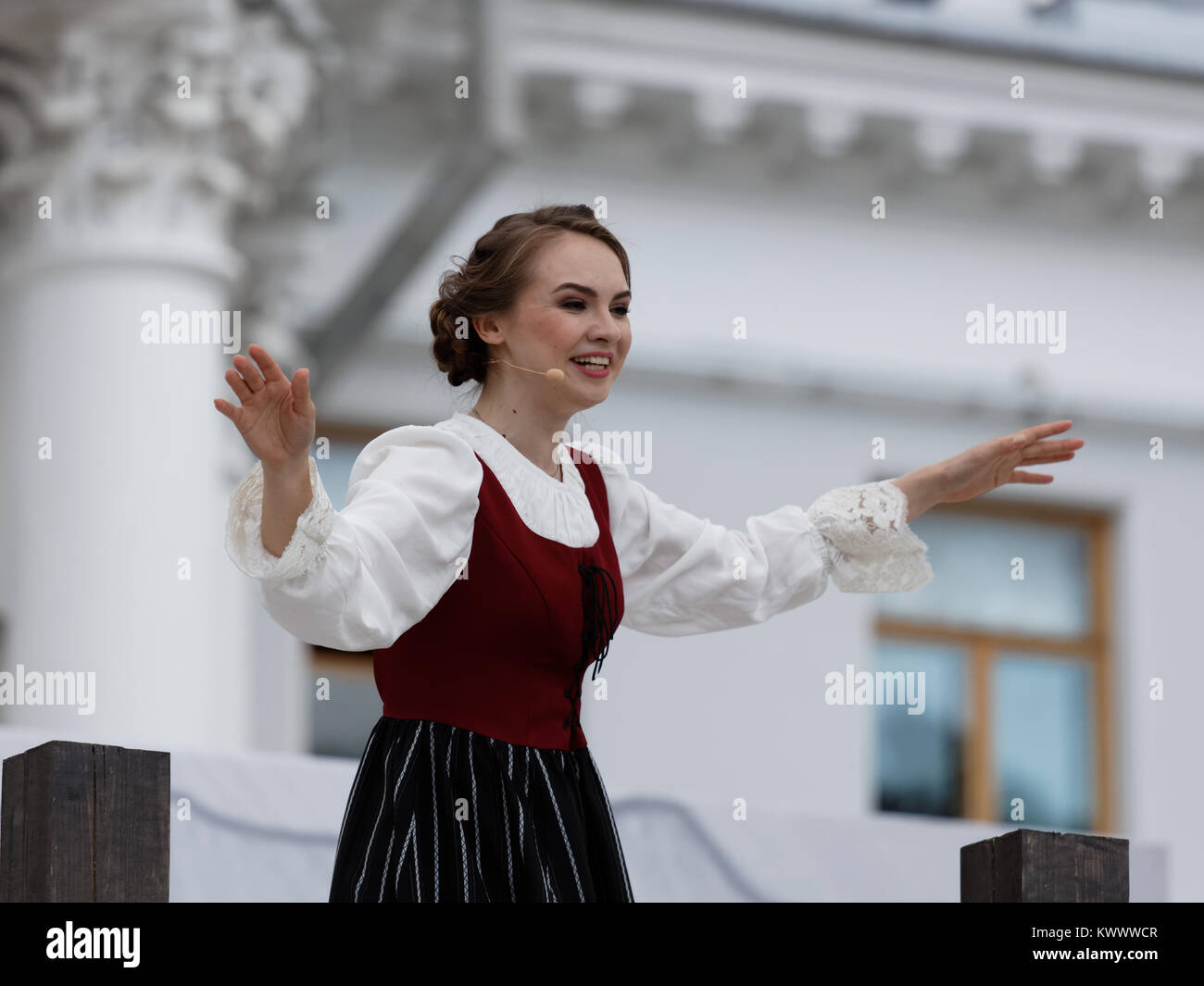 St. Petersburg, Russia - July 19, 2017: Olga Cheremnykh as Anchen in the opera The Marksman of C. M. von Weber outdoors - Stock Image