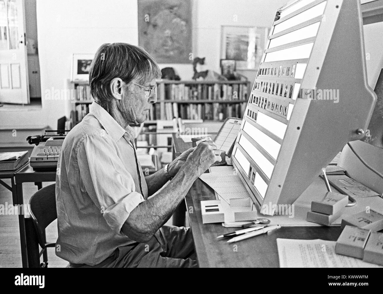 A portrait of American photographer Eliot Porter,1901-1990, in his studio in Tesuque, New Mexico, circa 1979. - Stock Image