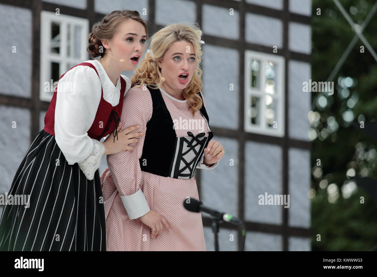 St. Petersburg, Russia - July 19, 2017: Micaela di Catalano (right) and Olga Cheremnykh in the opera The Marksman - Stock Image