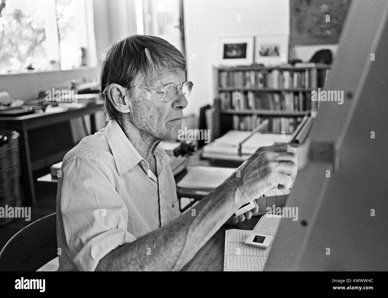 A portrait of American photographer Eliot Porter, in his studio in Tesuque, New Mexico, circa 1979. - Stock Image