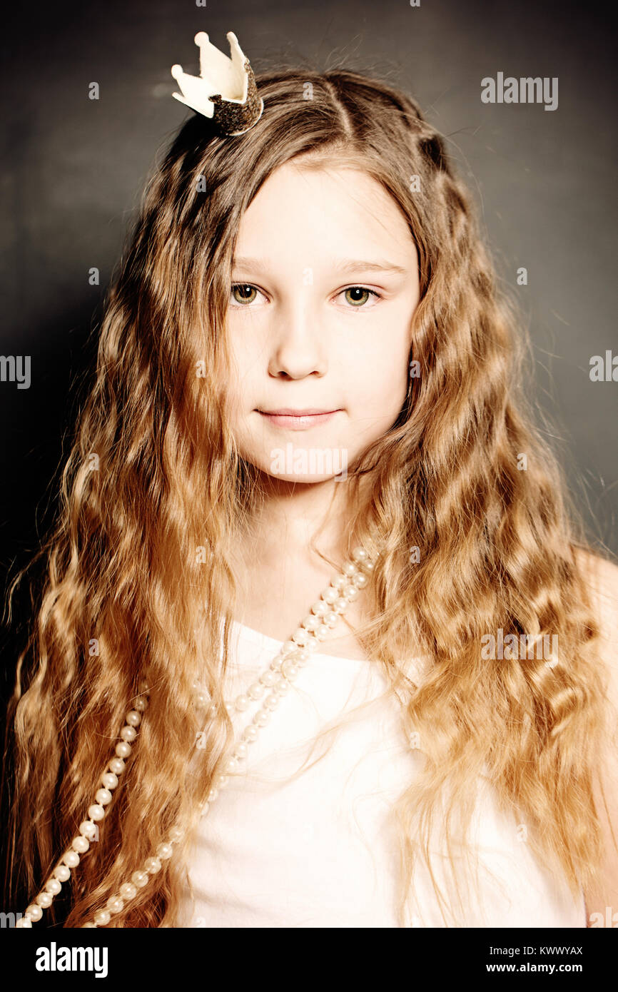 Young Girl Fashion Portrait Cute Face Long Curly Hair Princess