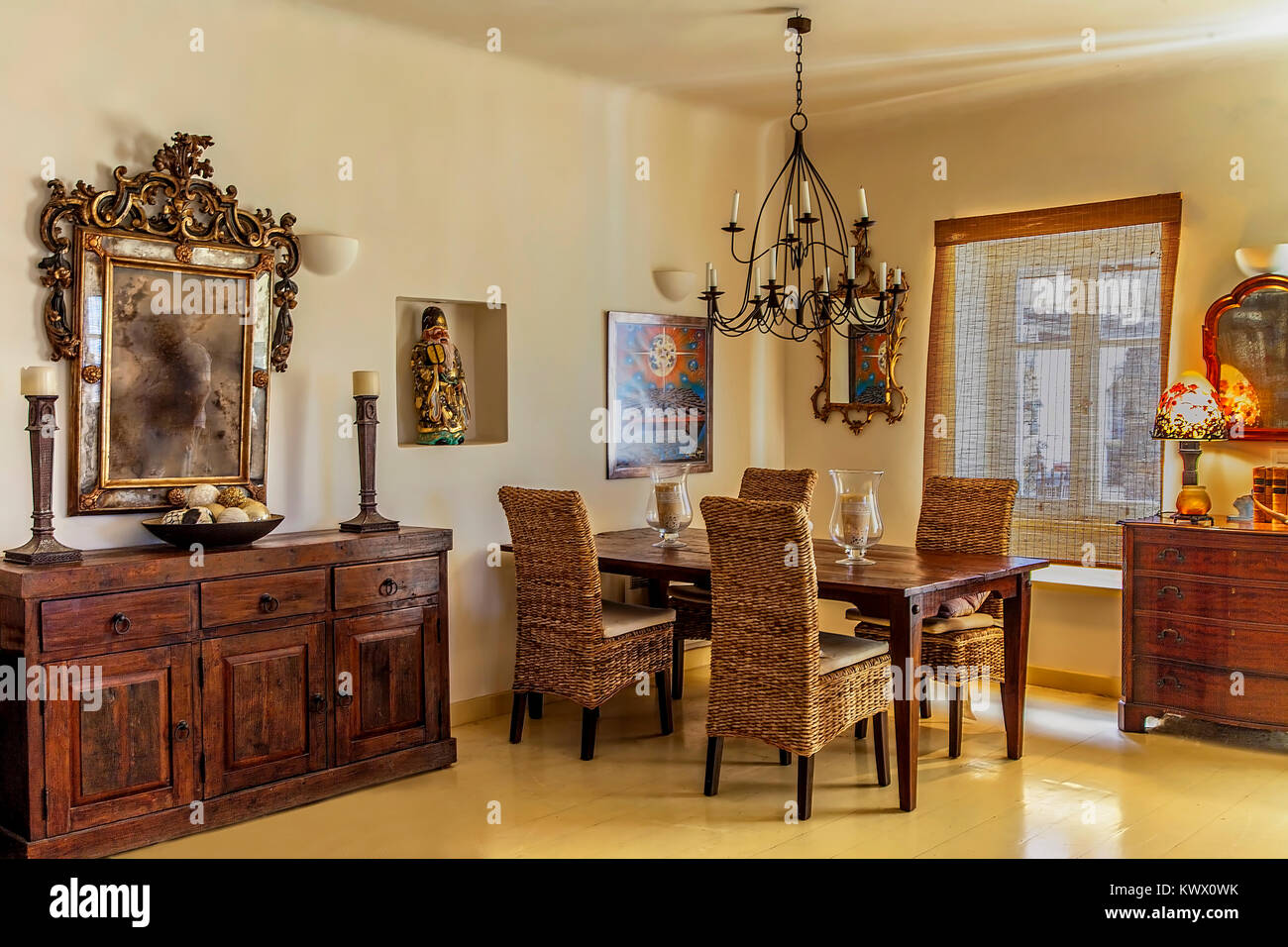 Dining Room .  Modern Interior design of a Greek  island house  with the combination modern of the elegance of the Stock Photo