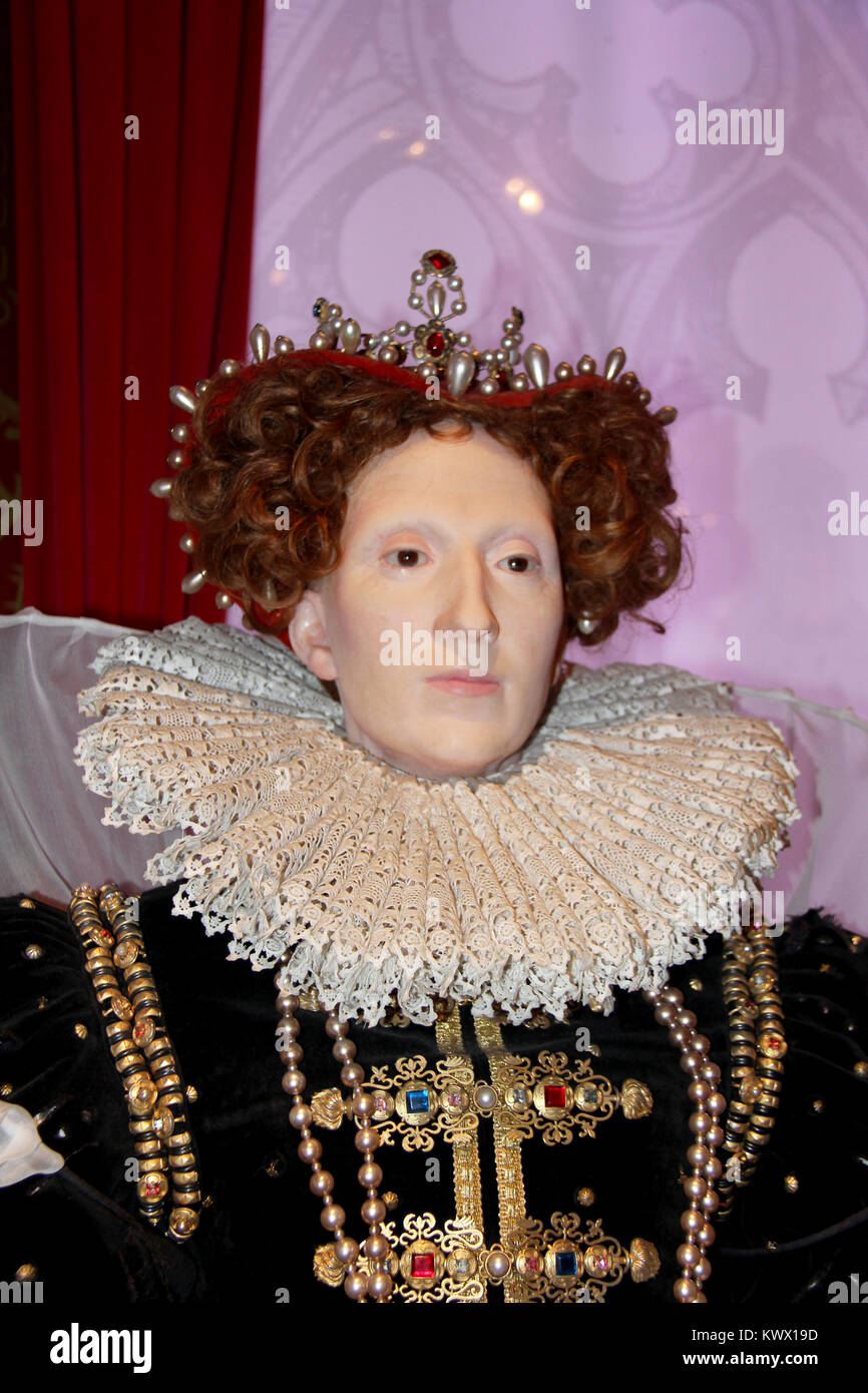 London, - United Kingdom, 08, July 2014. Madame Tussauds in London. Waxwork statue of Mary Queen of Scots, - Stock Image