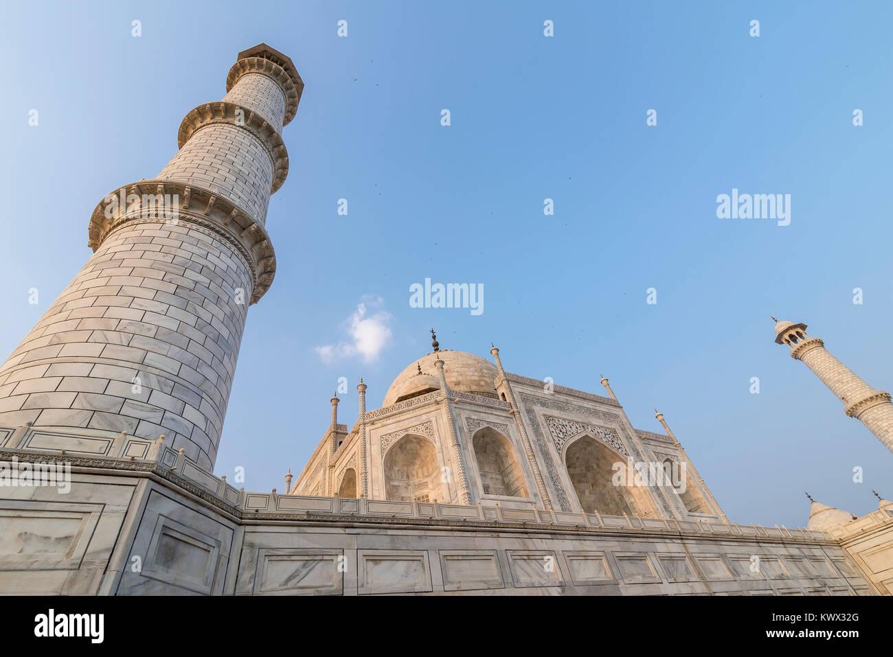 Wide angle view of Taj Mahal from below, Agra, Uttar Pradesh, India - Stock Image