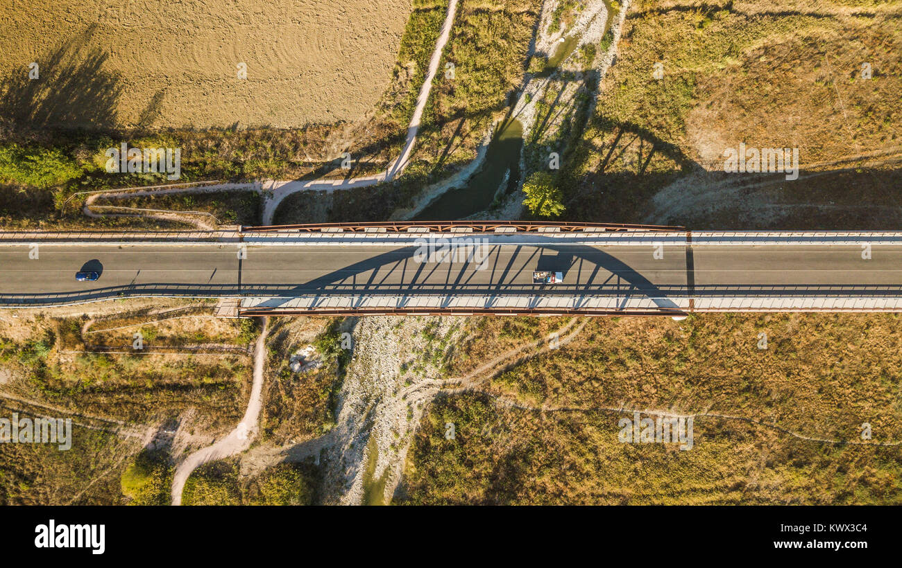 Birdseye view of a road bridge in Morciano, Italy - Stock Image