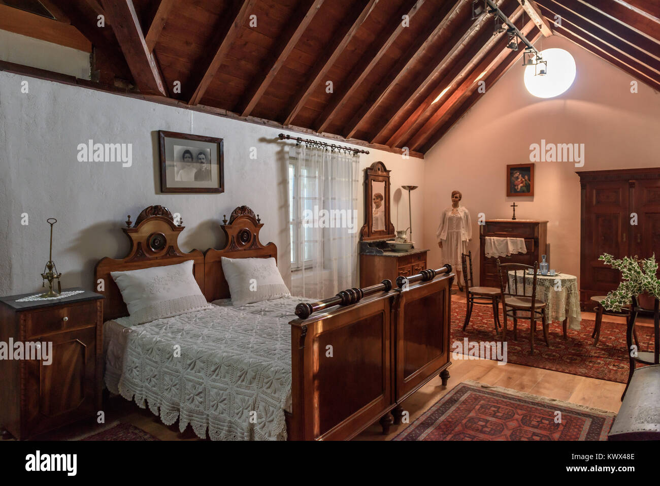 19th Cent. Middle Class bedroom display, Ethnographic Museum, Split, Croatia - Stock Image