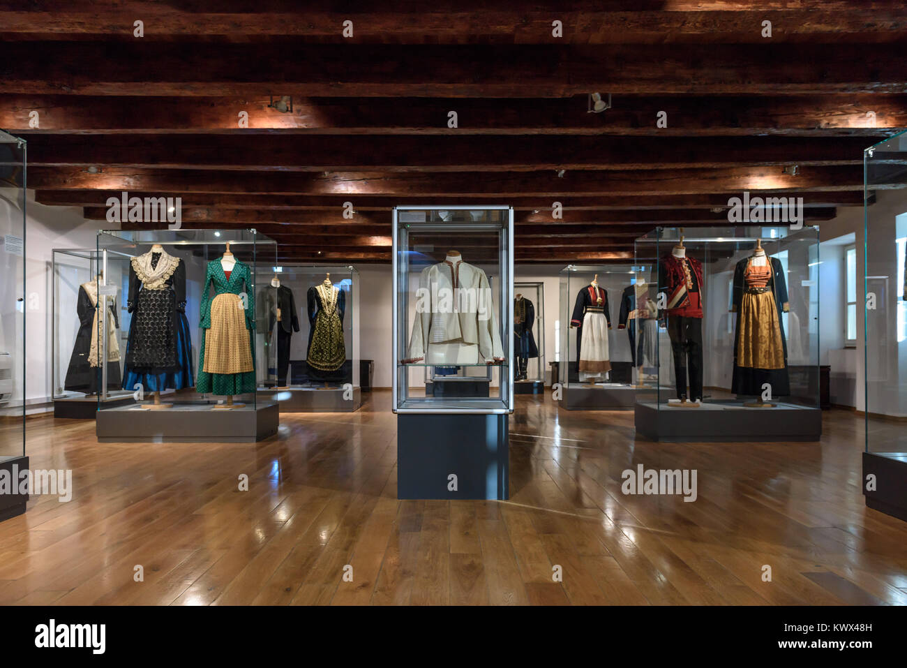 Traditional clothes display, Ethnographic Museum, Split, Croatia - Stock Image