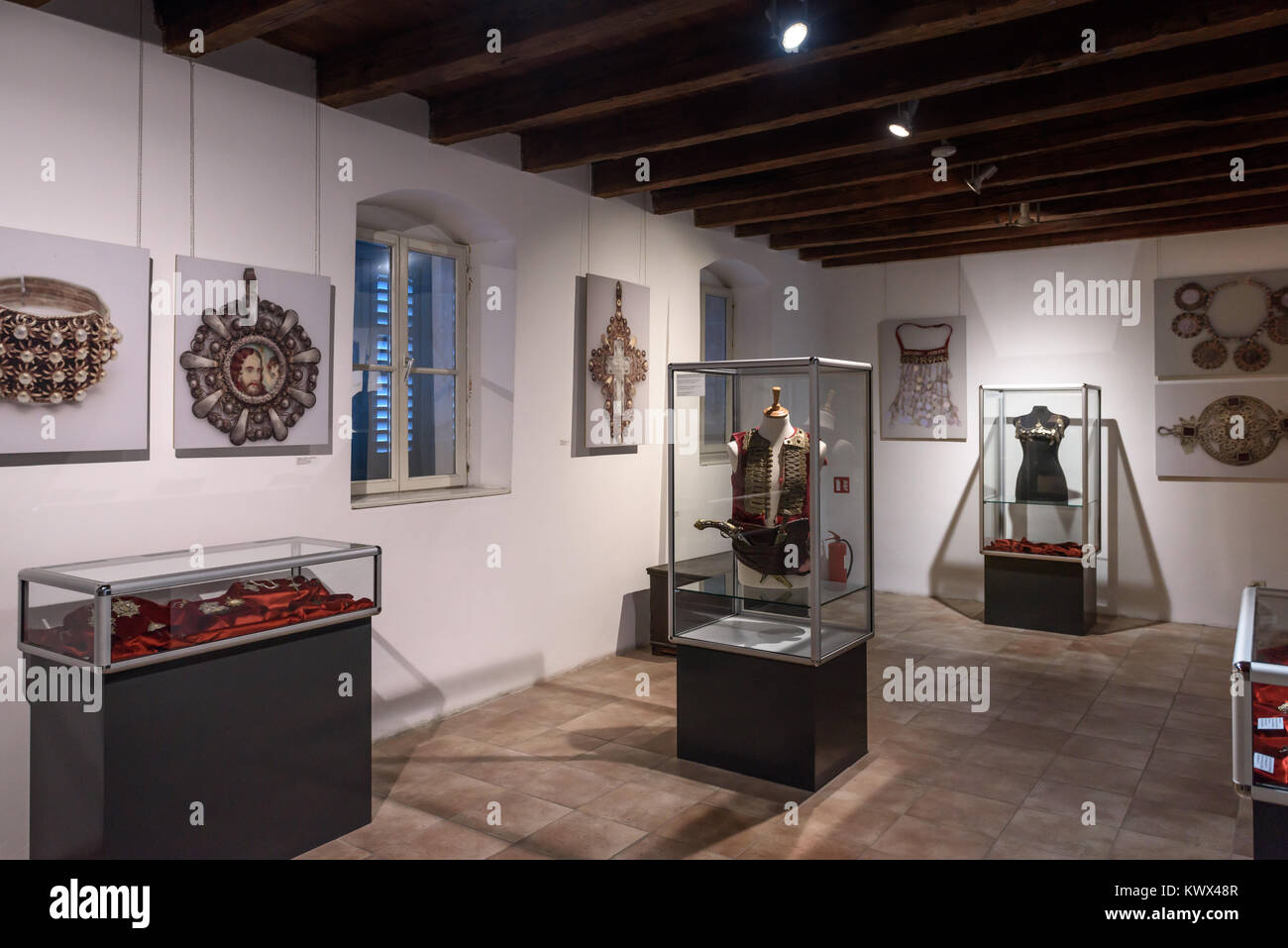 Armour & Jewellery displays, Ethnographic Museum, Split, Croatia - Stock Image