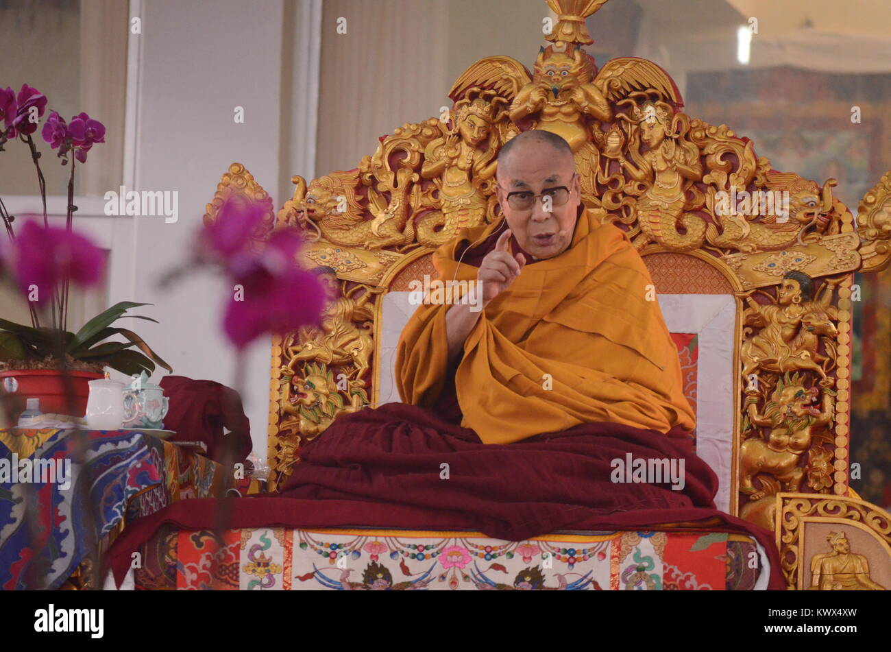 Bodh gaya, India 05 January 2018 - The Holiness 14th Dalai Lama is addressing a   gathering during the special teaching - Stock Image