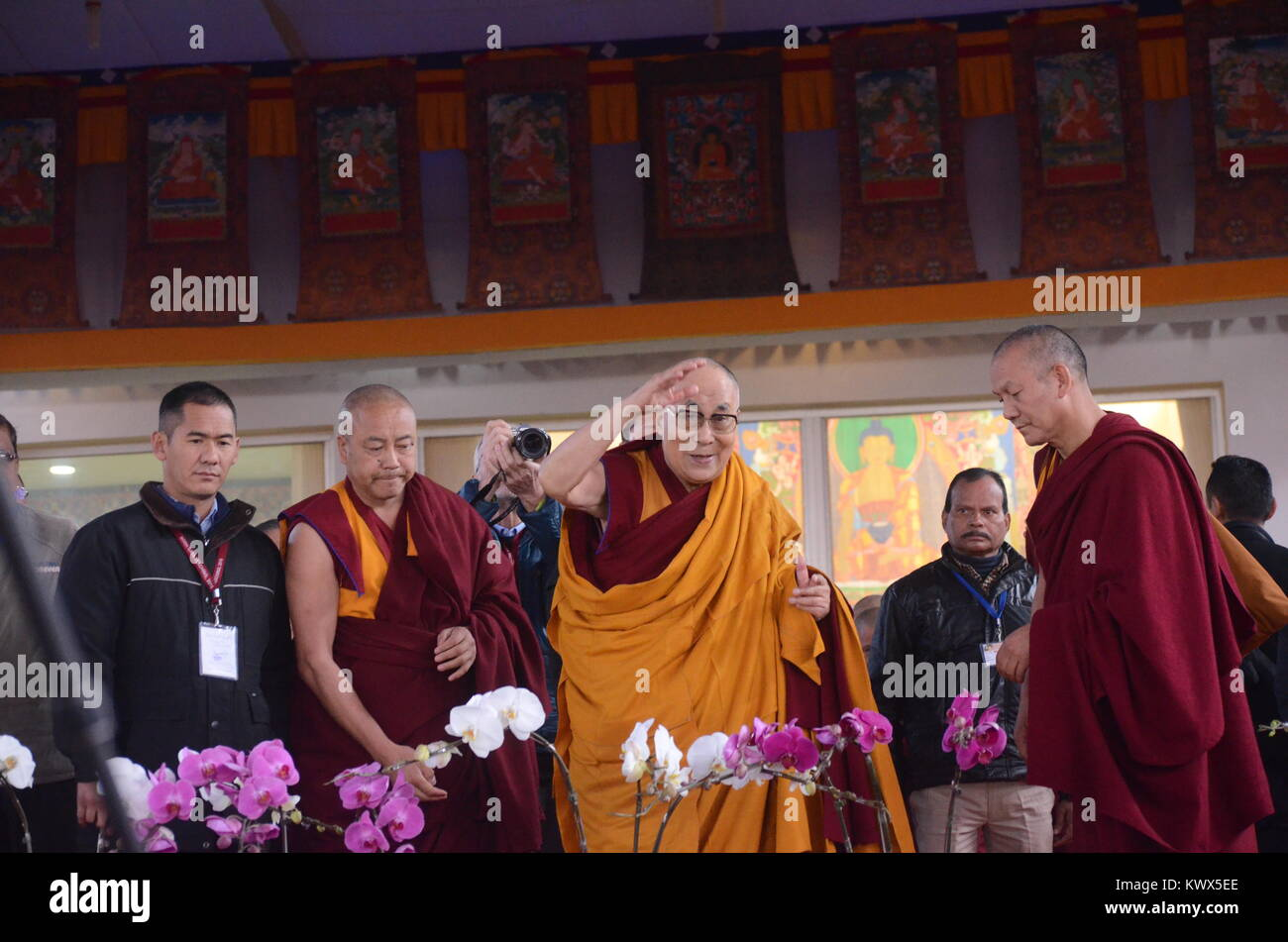 Bodh gaya, India 05 January 2018 - The Holiness 14th Dalai Lama is addressing a   gathering during the special teaching Stock Photo