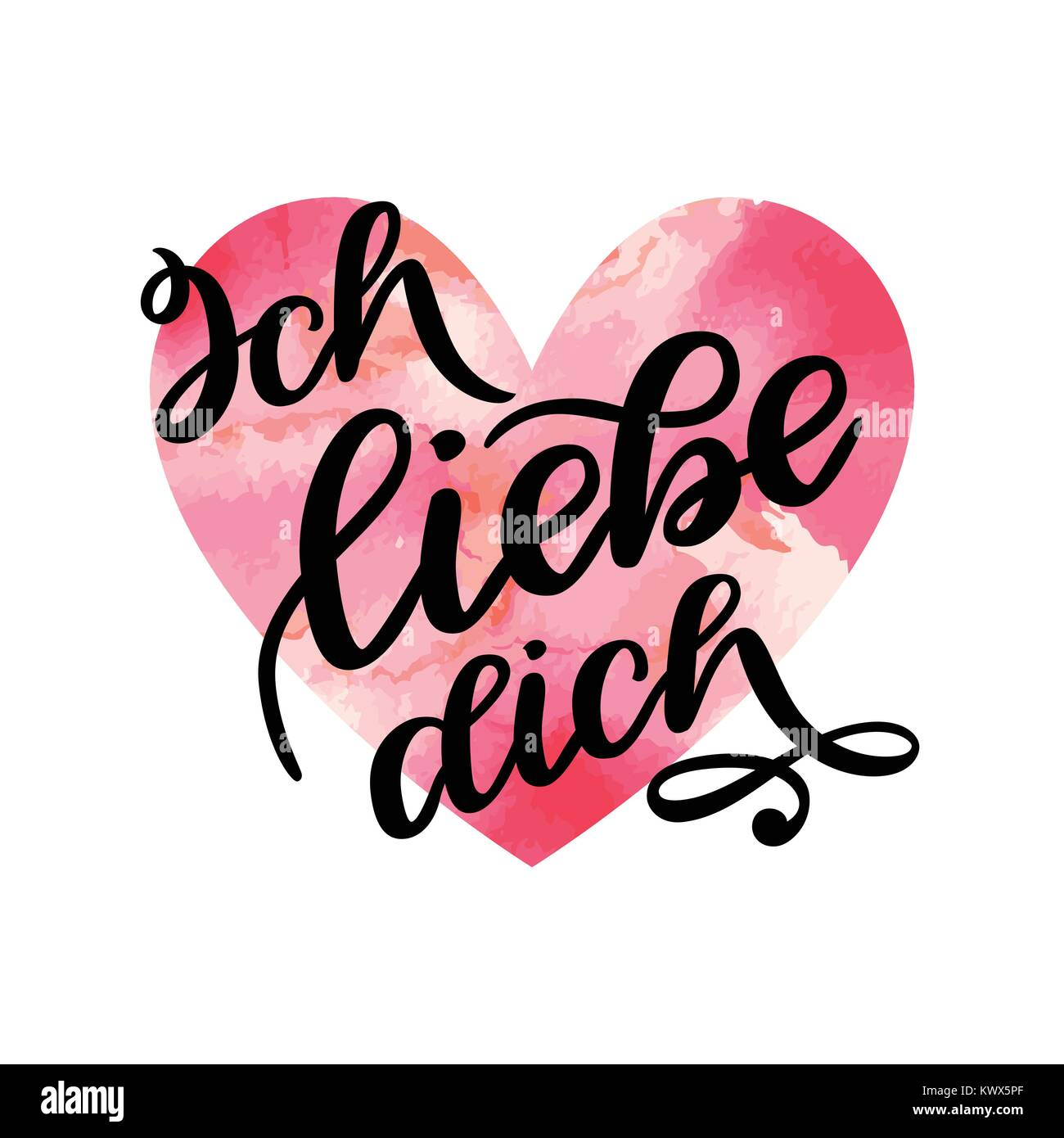 Handwritten Text In German Ich Liebe Dich Love You Postcard