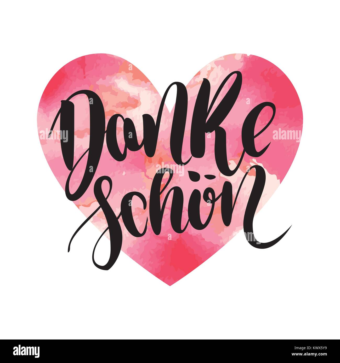 Danke schoen. Thank you in german. Vector hand drawn brush lettering on colorful watercolor heart isolated on white Stock Vector