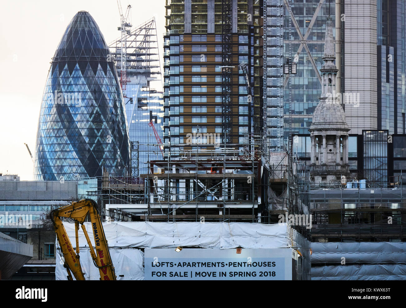 Construction work in London. Looking from the north towards the City of London - Stock Image