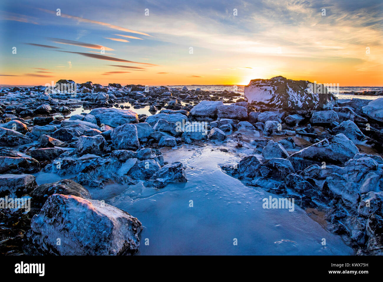 Sunset at Ytri Tunga Beach, Snaefellsness Peninsula, Iceland, Europe - Stock Image