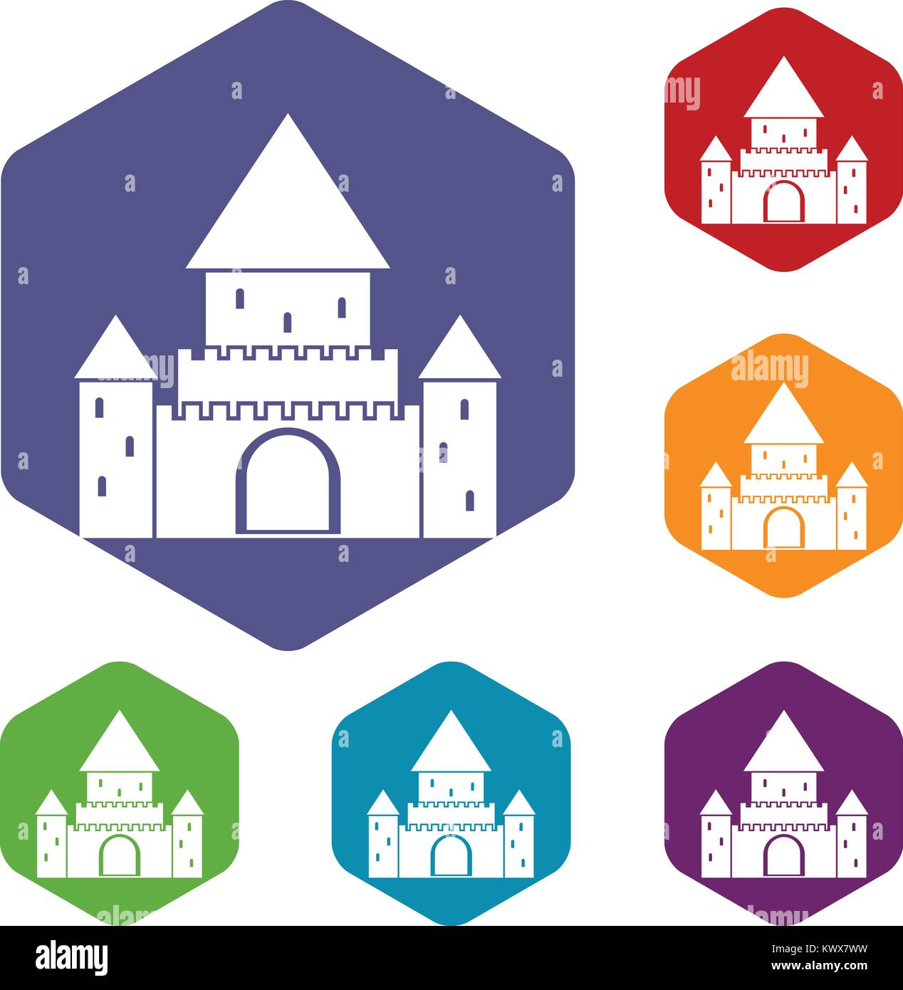 Chillon Castle, Switzerland icons set rhombus in different colors isolated on white background - Stock Vector