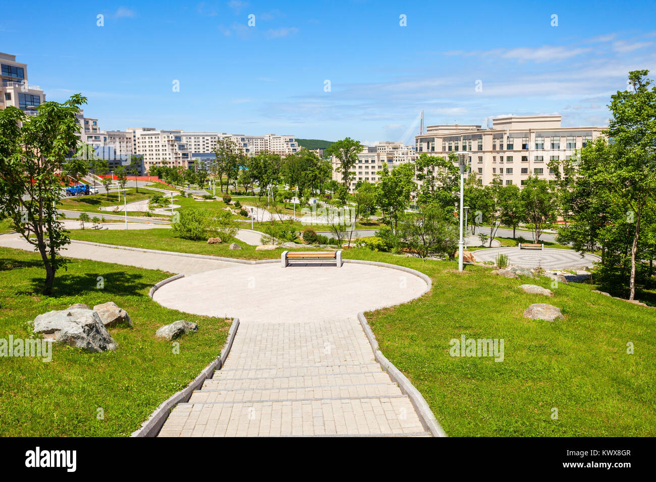 Far Eastern Federal University (Dalnevostochny Federalny Universitet or DVFU) campus buildings. It is an institution - Stock Image