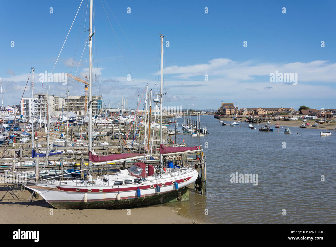 Boats moored on River Adur, Shoreham-by-Sea, West Sussex, England, United Kingdom Stock Photo