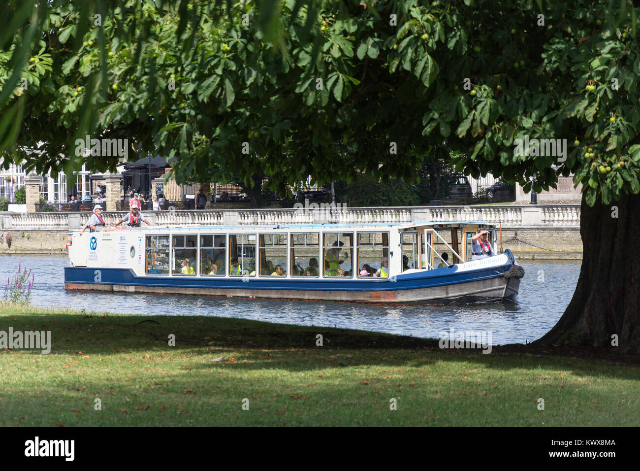 John Bunyan cruise boat on River Great Ouse, Bedford, Bedfordshire, England, United Kingdom - Stock Image