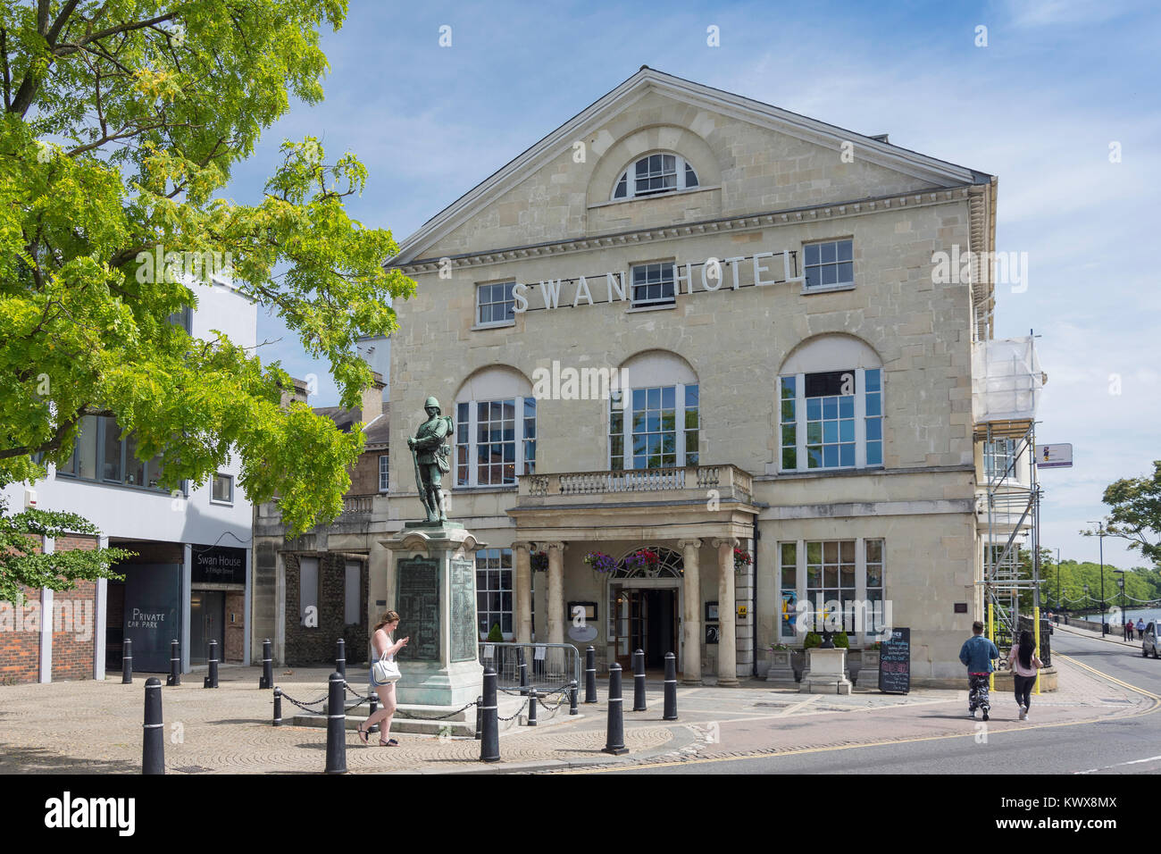 18th century The Bedford Swan Hotel, The Embankment, Bedford, Bedfordshire, England, United Kingdom - Stock Image