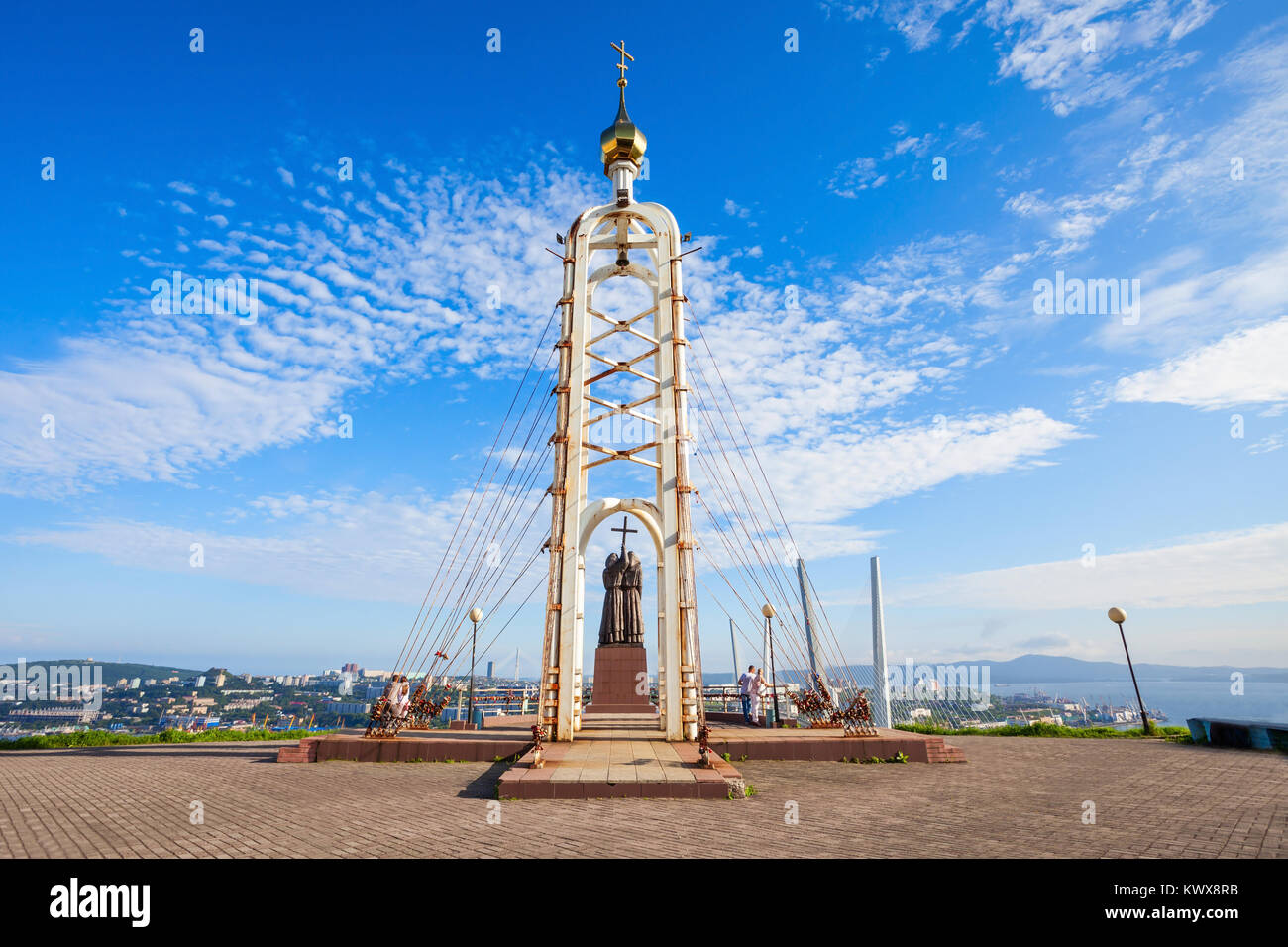 Chapel and Monument of Cyril and Methodius, Educators and creators of the Slavic alphabet Eagle Nest Mount in Vladivostok, - Stock Image