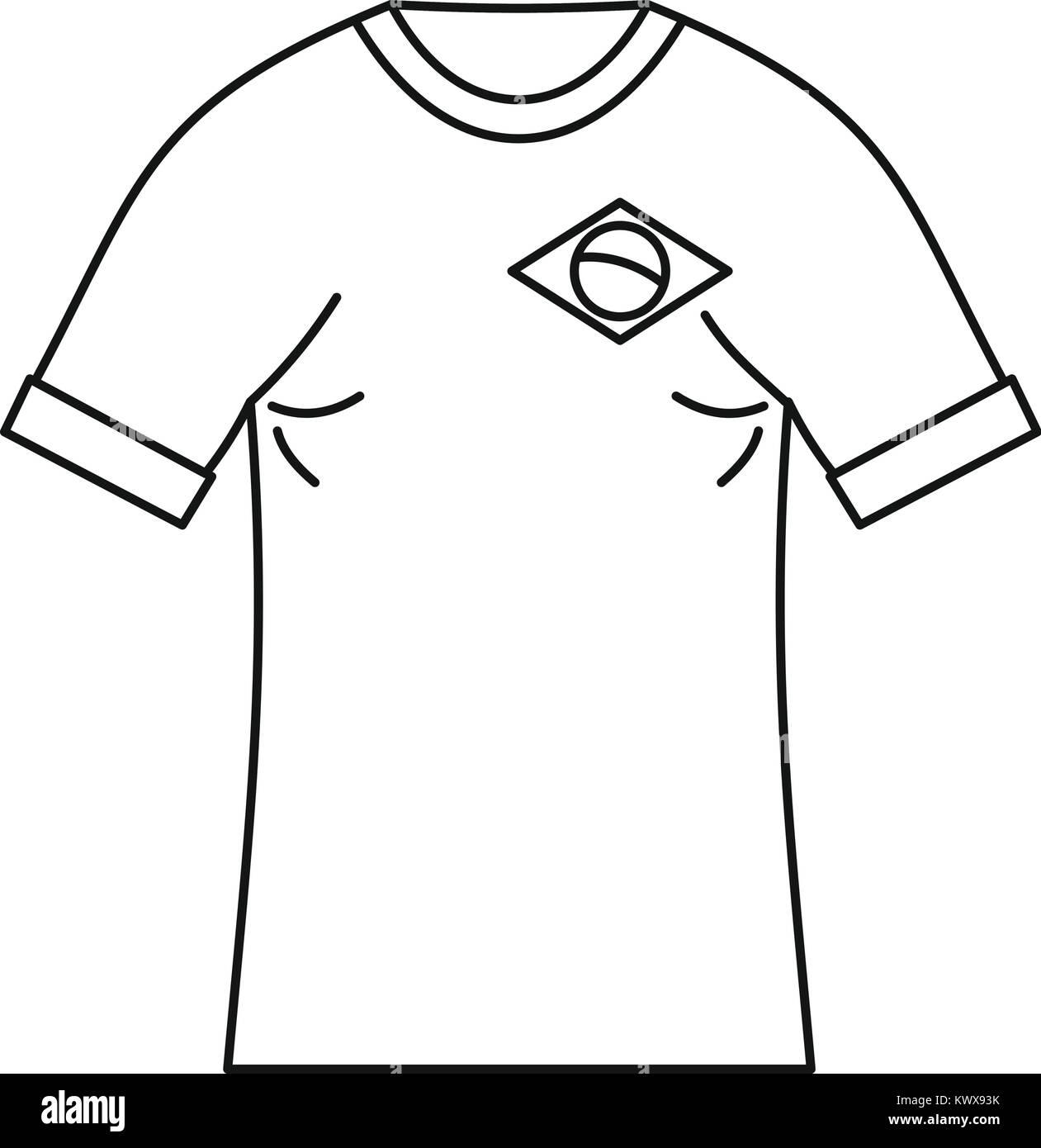Brazilian football t shirt icon, simple style - Stock Vector