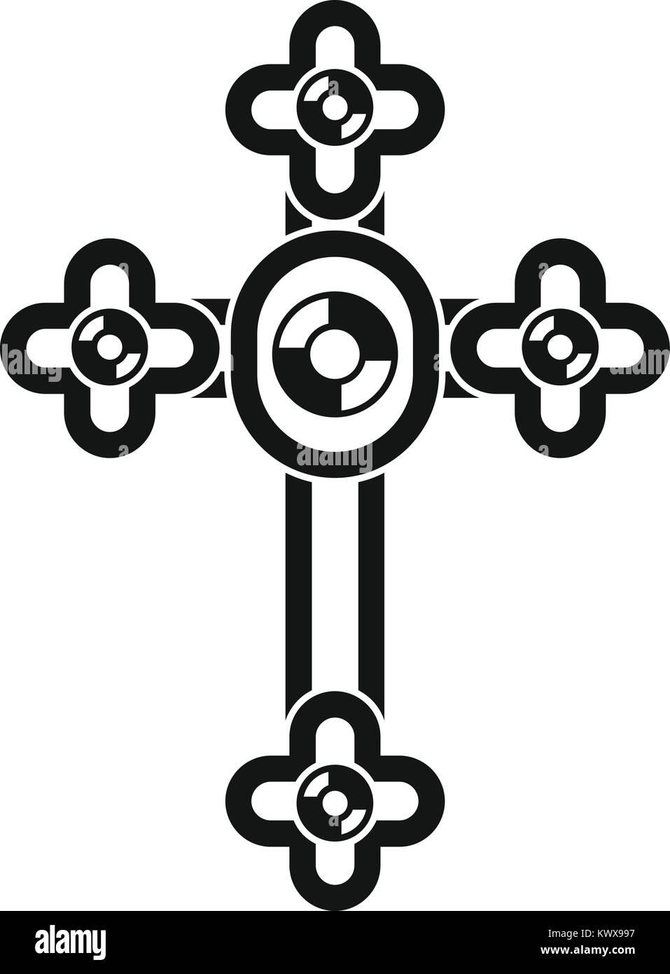 Cross with diamonds icon, simple style - Stock Image