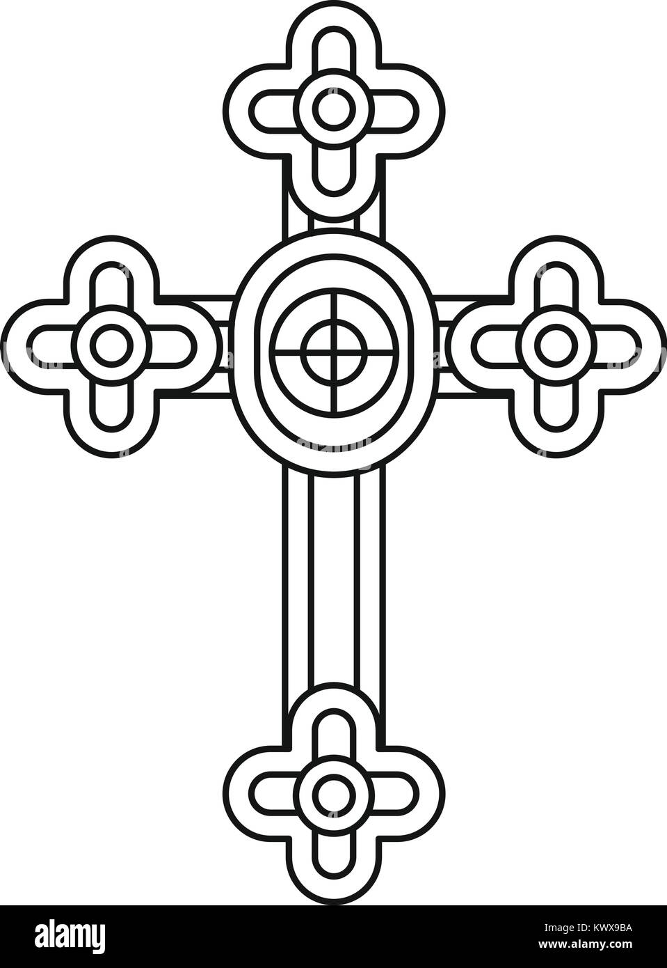 Christian cross jewelry icon, outline style - Stock Image