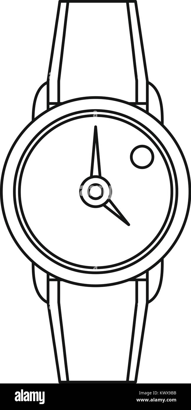 Hand watch icon, outline style - Stock Image