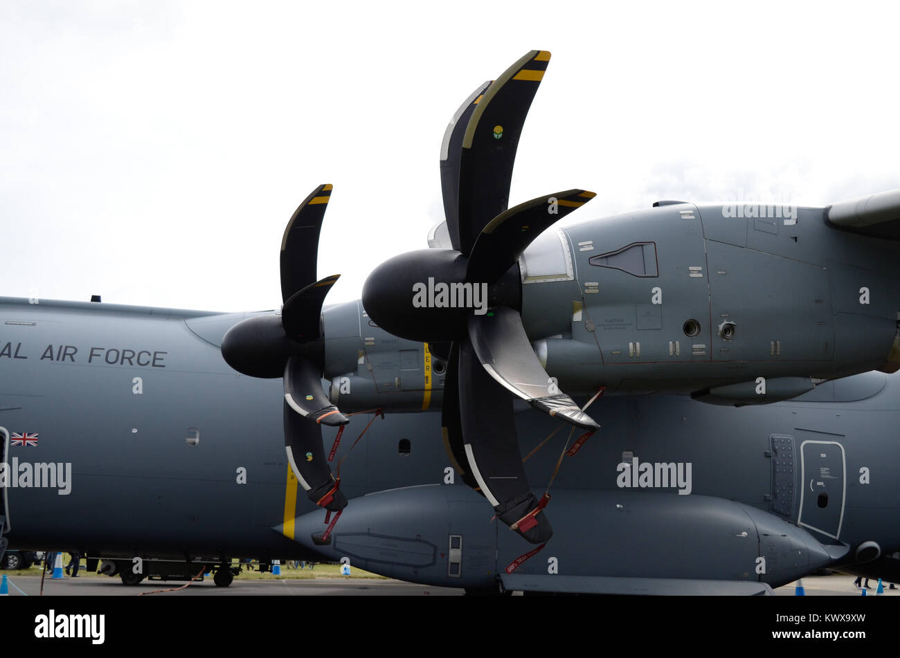 Airbus A400M Atlas of the RAF, showing the swept blade propellers on the port wing. - Stock Image
