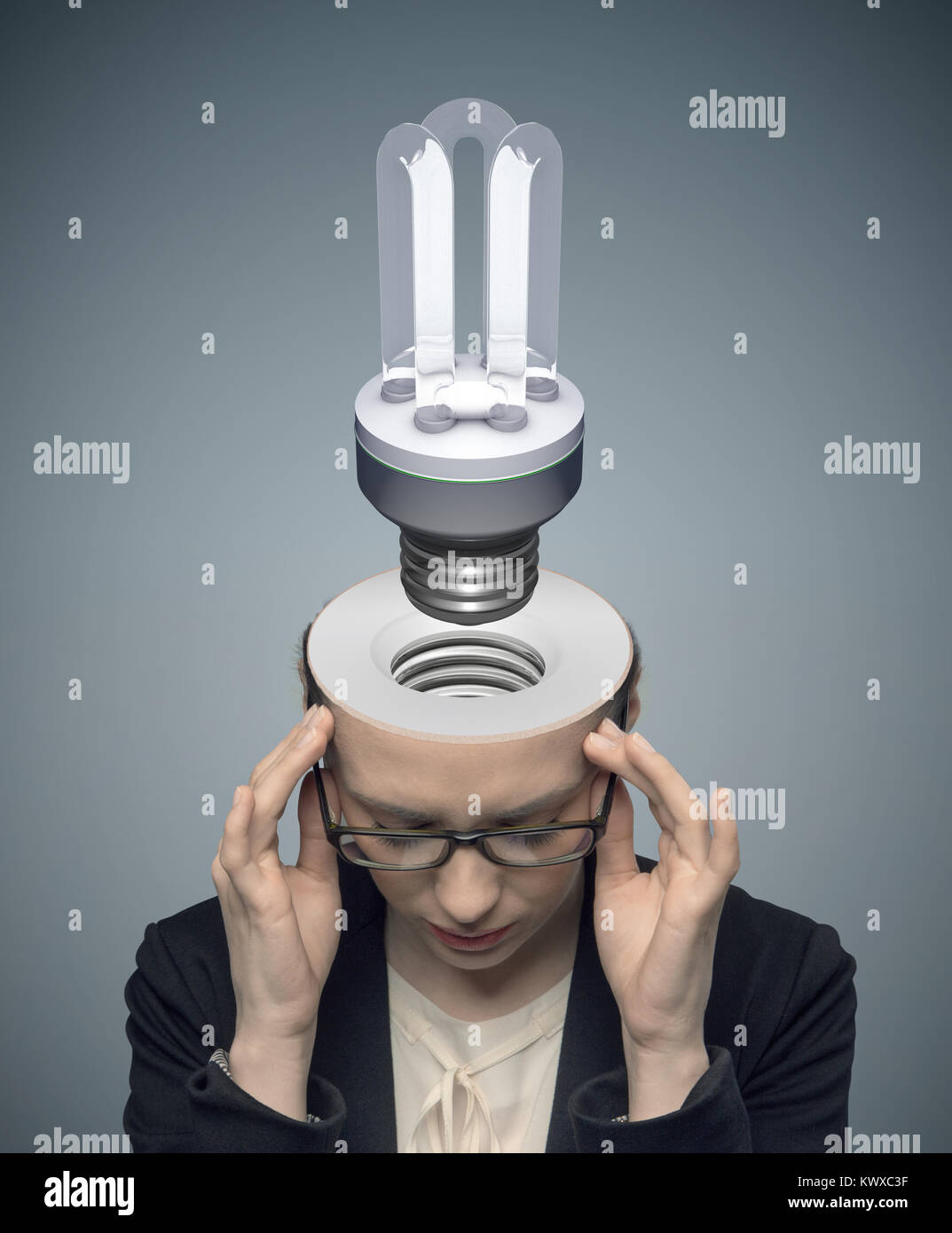 Conceptual picture of thinking businessman - Stock Image