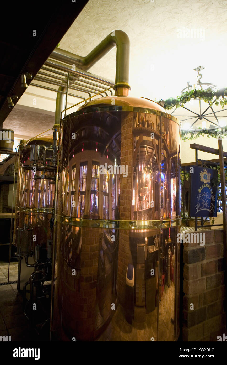 Interior of the Beer House, Dunkri 5, Tallinn, Estonia: a copper brewing beer in the restaurant/brew pub - Stock Image