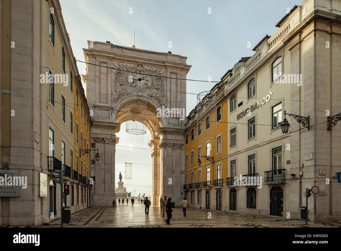 Rua Augusta arch in Lisbon, Portugal. - Stock Image