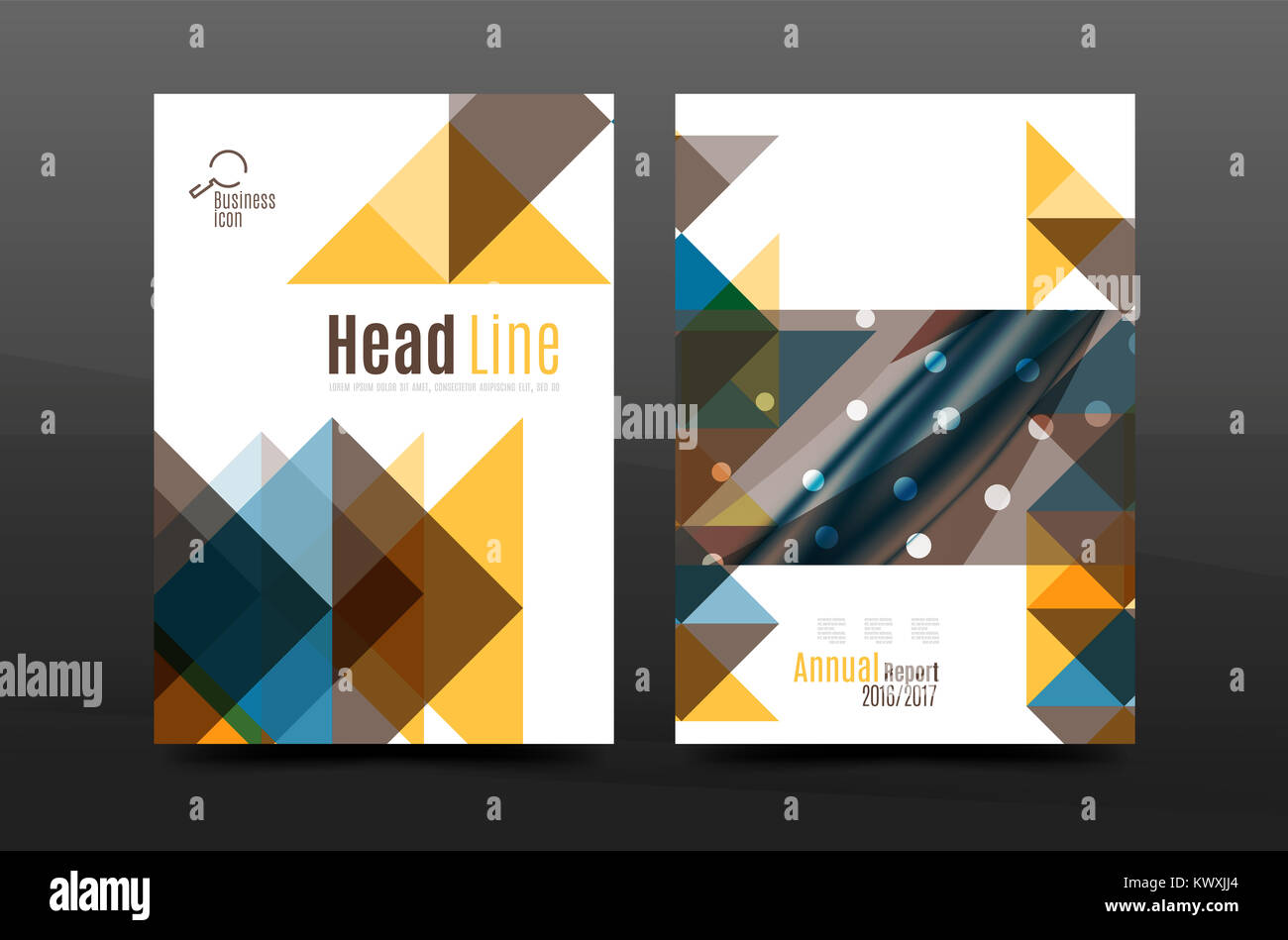 colorful geometry design annual report a4 cover brochure template
