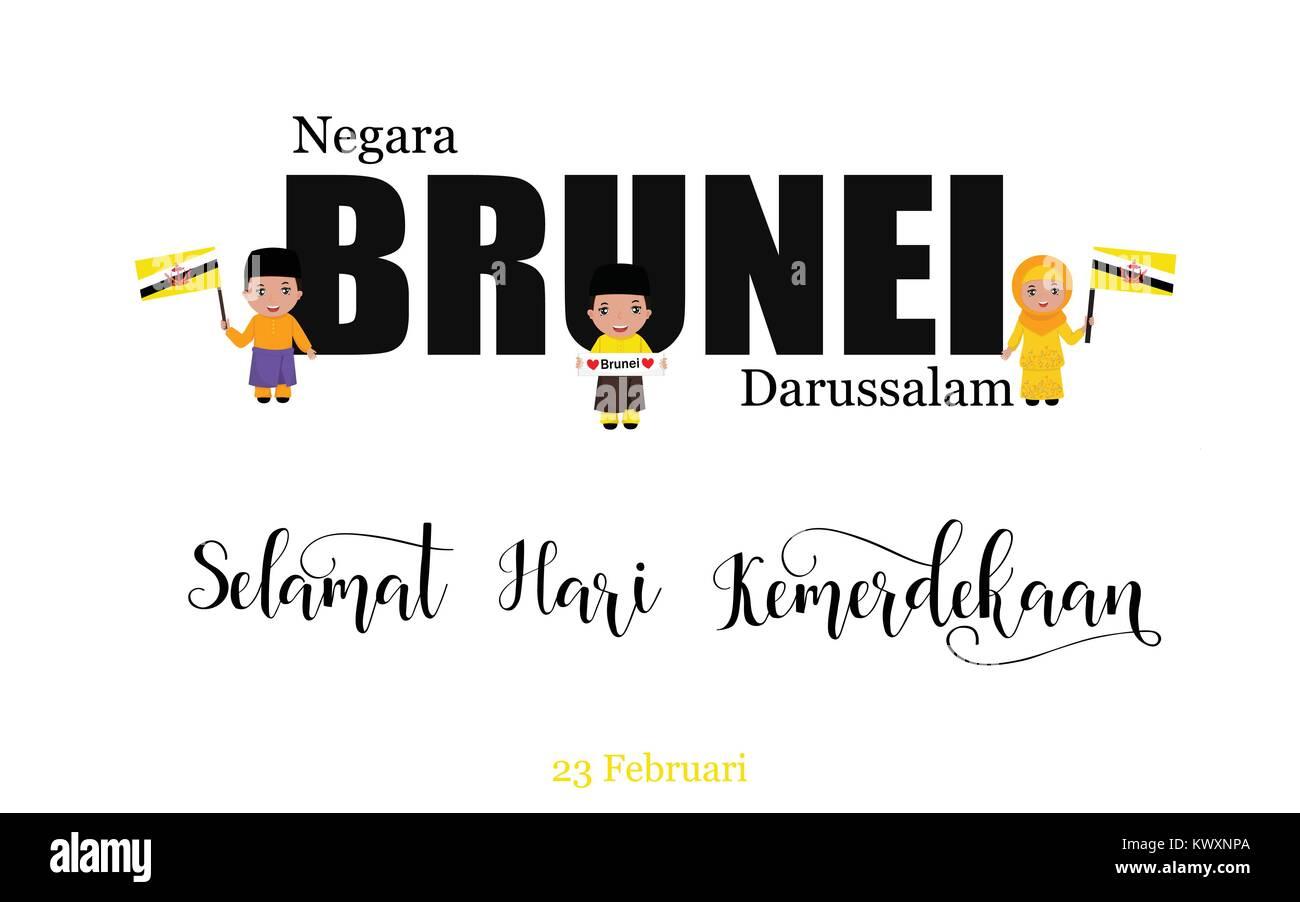 Brunei National Day Greeting Card. Kids logo. English: Nation of Brunei. Happy Independence Day. February 23 - Stock Image